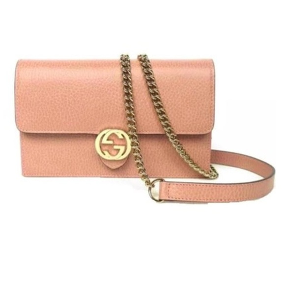 8b7807768b1 Gucci Chain Wallet Icon Gg Pink Leather Cross Body